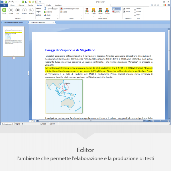 ePico - Ambiente Editor - l'ambiente che permette l'elaborazione e la produzione di testi
