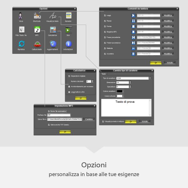 Carlo Mobile Pro - Opzioni - personalizza in base alle tue esigenze