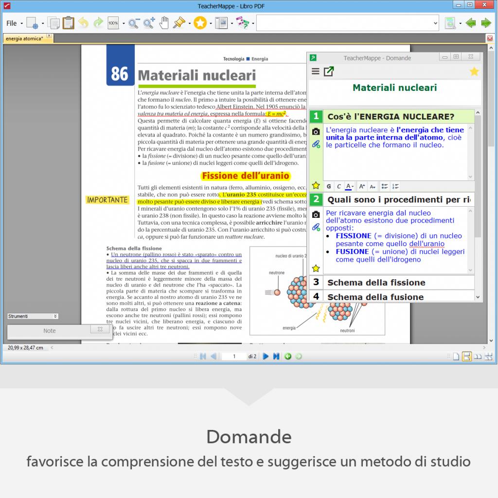 Teachermappe - Ambiente Domande - favorisce la comprensione del testo e suggerisce un metodo di studio