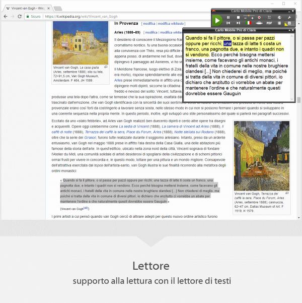 Carlo Mobile Pro Lettore - supporto alla lettura con il lettore di testi