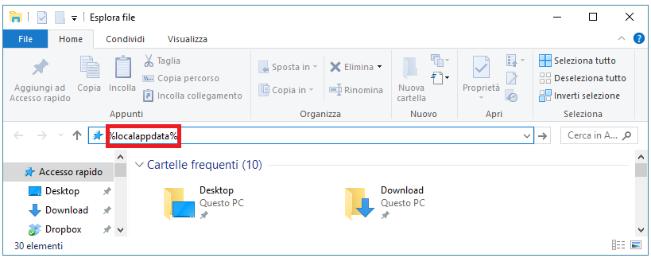 Finestra Esplora File nel computer