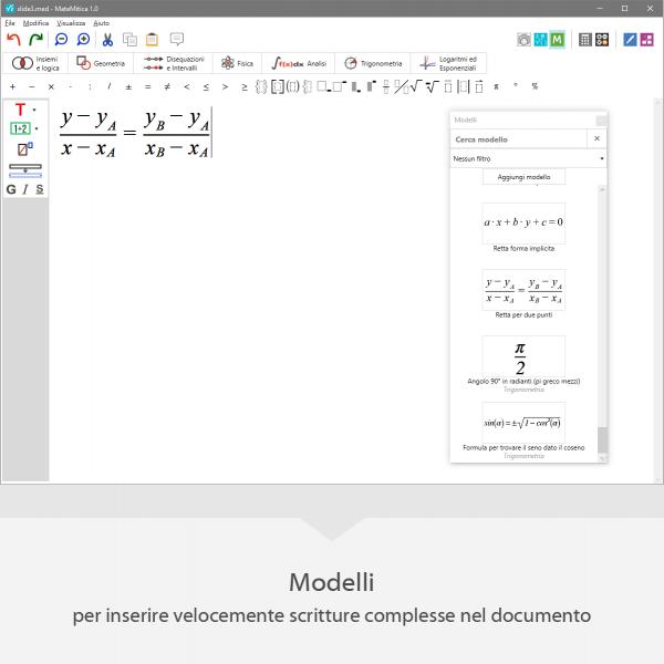 MateMitica - Modelli per inserire velocemente scritture complesse nel documento
