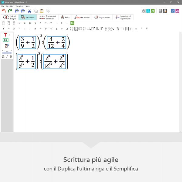 """mateMitica - scrittura matematica più agile con le funzioni """"duplica l'ultima riga e """"Semplifica"""""""