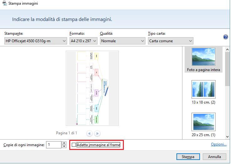 Finestra di stampa delle immagini da SuperMappe: scegli come stampare
