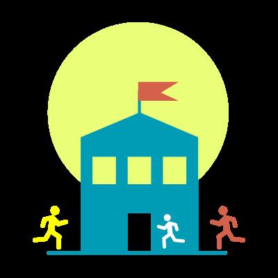 Progetto Doposcuola - icona con scuola e bambini che entrano