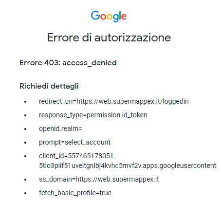 Errore di accesso a SuperMappeX: access denied