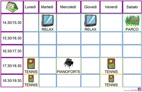 Tabella organizzazione del tempo per studenti